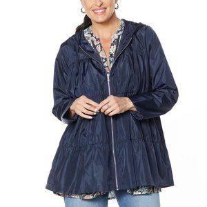NWT DG2 by Diane Gilman Tiered Raincoat 1X Navy